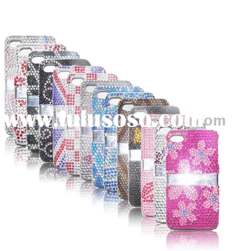 New Sparkly Rhinestone Diamond Case with Metal Stand for iphone 4 4G