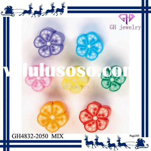 New arrival DIY colorful plum flower beads polymer clay pendants