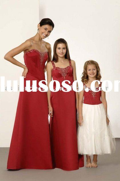 New styles red satin beaded bridesmaid dresses,formal prom gowns,evening dresses BD063