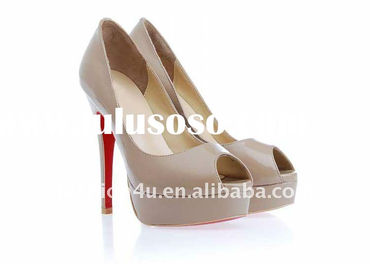 Nude patent leather wedge shoes wholesale