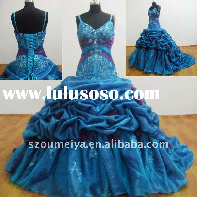 OUMEIYA ORQ1 Organza Spaghetti Straps Ball Gown Blue Luxurious Quinceanera Dresses