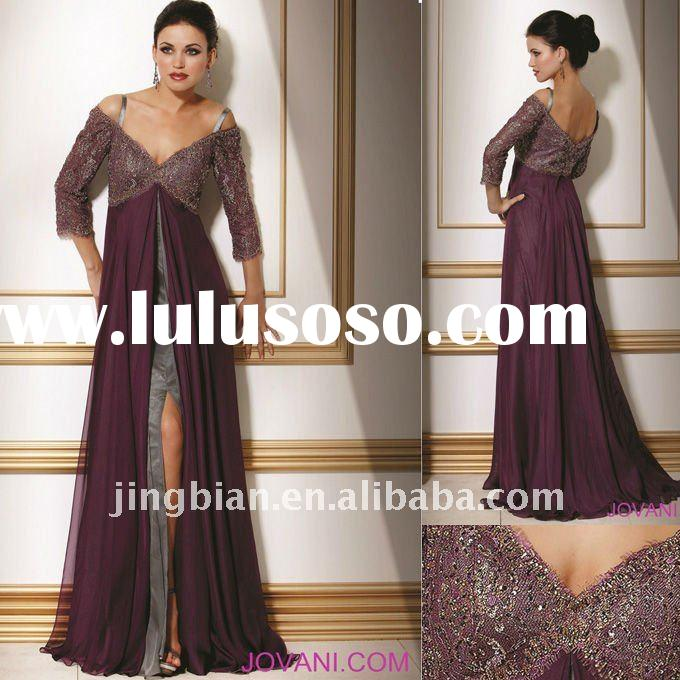 Off the shoulder empire waist Gown with lace detail on Half sleeves and bust Latest Dress Designs Fo