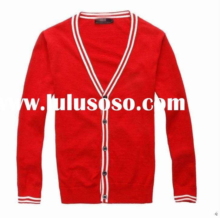 Paypale Hot new branded red stylish boy brand name wool knited Men's V-neck button slim card