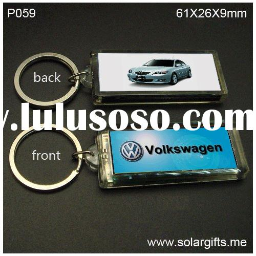Plastic double sided picture frame lcd solar key chain