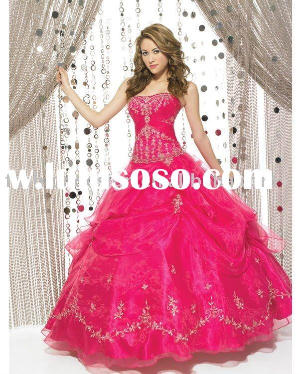QB058 2011 new design hot pink organza embroidered bridesmaid prom dress Quinceanera Ball gowns