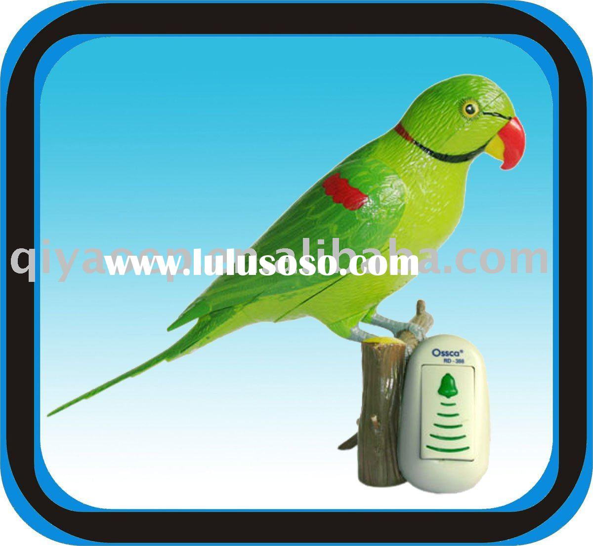 Recordable Doorbell Remote Control Digital Wireless Door Chime Hand-painted Parrot