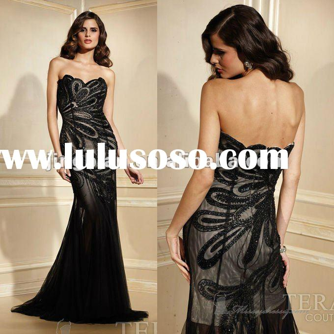 SC1554 Luxury black lace prom dresses 2012 by Terani couture
