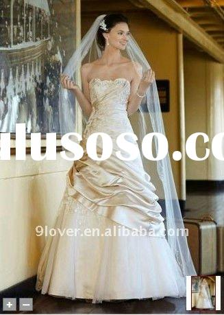 Satin Ball Gown 2012 with Appliques and Tulle Underlay wedding dress V3179