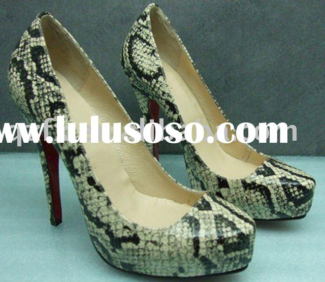 Snakeskin leather shoes high heel lady party shoes