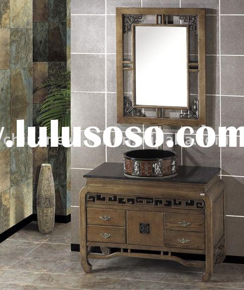 Solid wooden classical bathroom cabinet