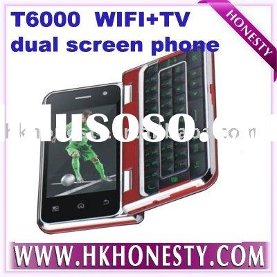 T6000 Dual Cards Quad Band celular phone with Wifi TV Java FM Touch Sceen Cell Phone with Rotatable