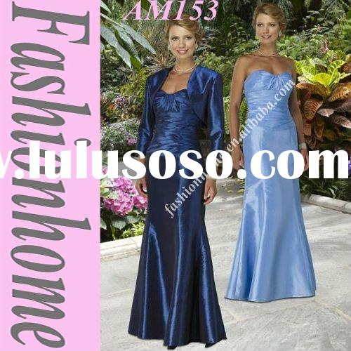 Top quality Royal Blue Satin Strapless Mother Evening Gown With Shawl AM153