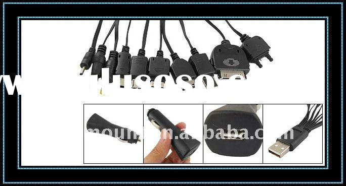 Travel 10 in 1 Cell Phone Adapter Kit USB Car Charger Black