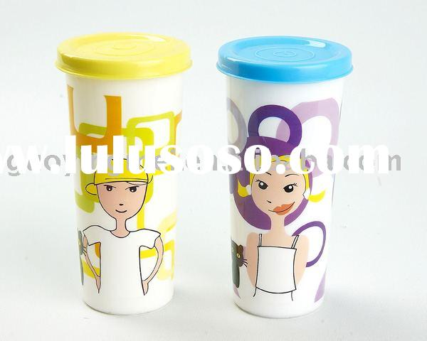 Travel plastic tumbler coffee mugs with lid,cheap thermal cups wholesale