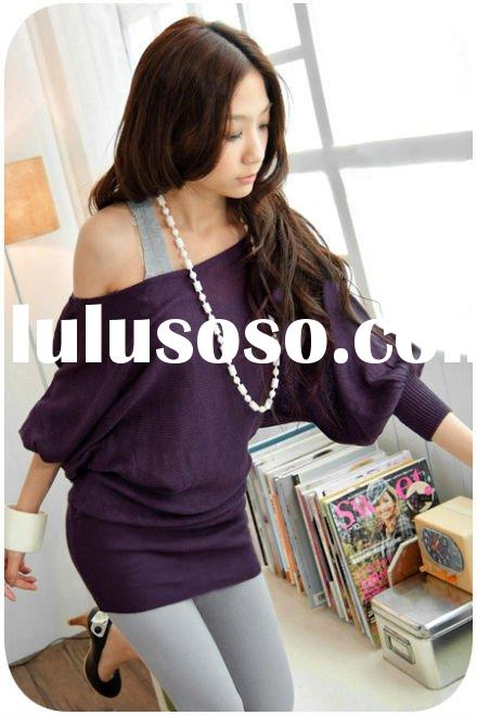 Vintage lantern sleeves purple knitted fashion off shoulder long sleeve ladies top FY8015