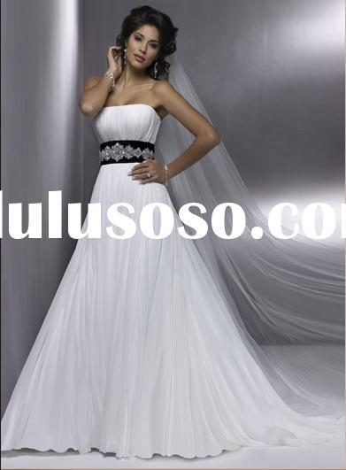 White and Black Lace Chiffon MW014 Beach Wedding Dresses