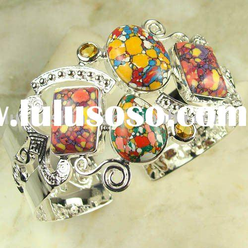 Wholesale Silver Jewelry Silver Bangle Mosaic Jasper Bangle