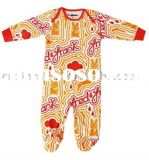 Winter fashion orange and red printing cotton kids jumpsuit