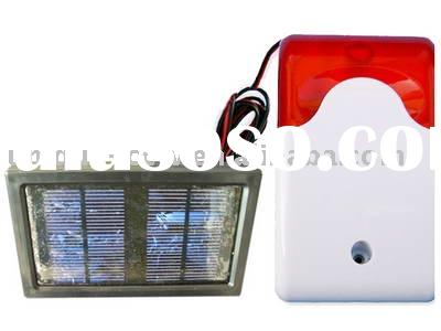 Wireless solar siren with strobe light