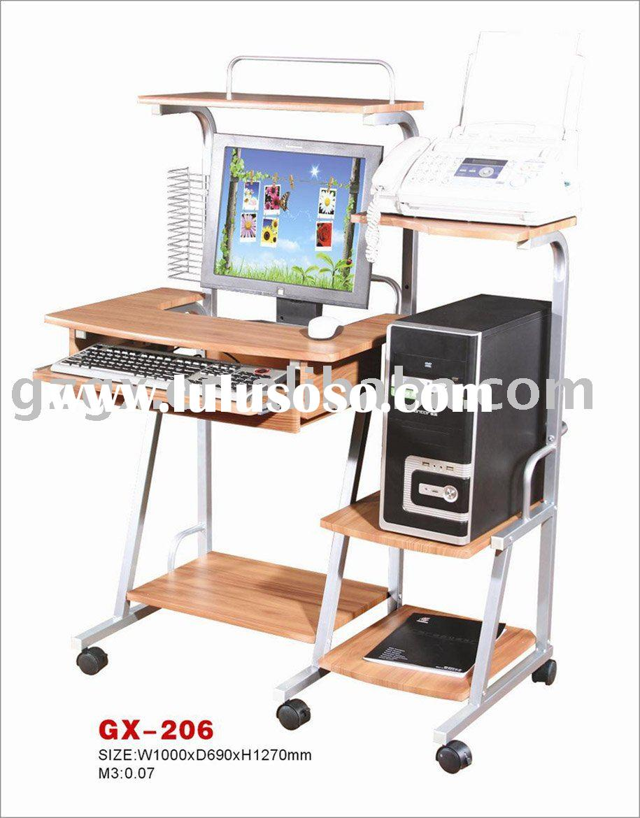 Wooden double painted Silver PVC guangxin Computer table, office furniture
