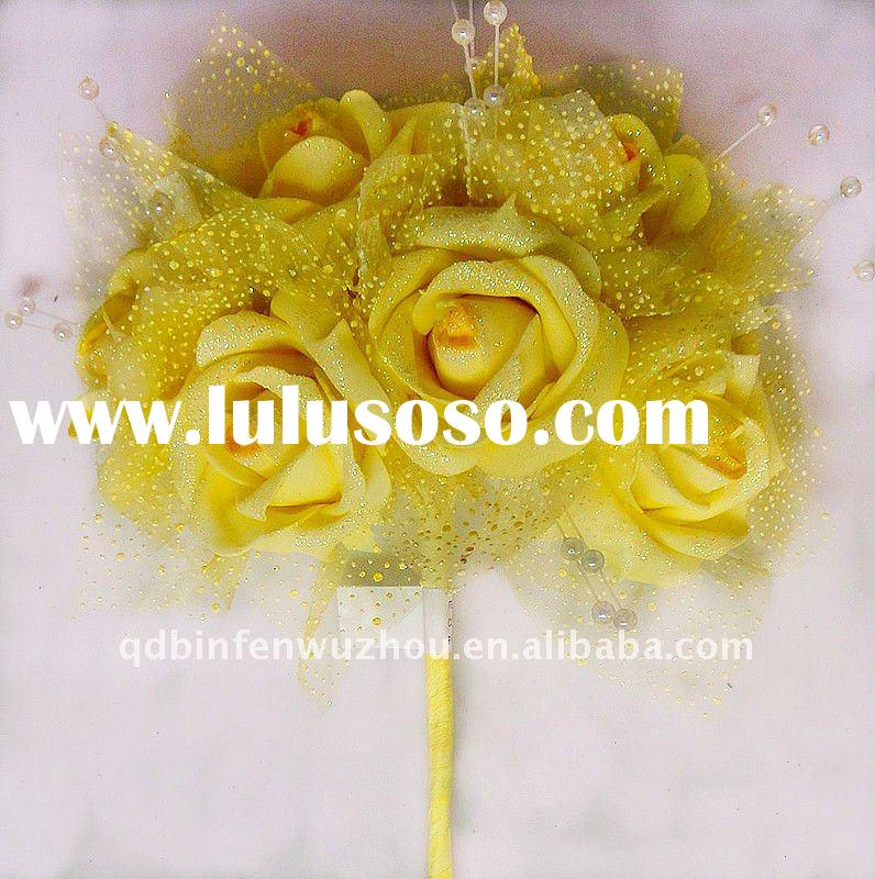 Yellow Artificial Bridal Bouquets for Wedding Decorations