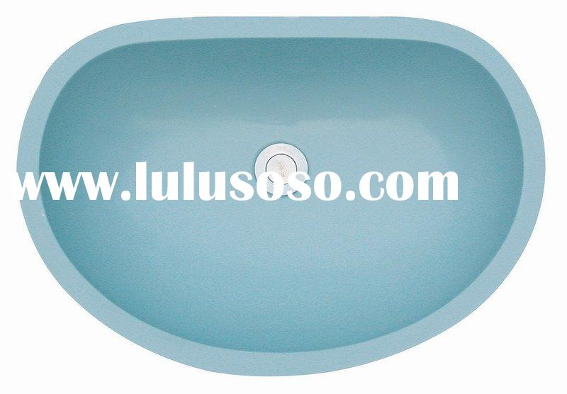 artificial blue acrylic solid surface double basins,sinks