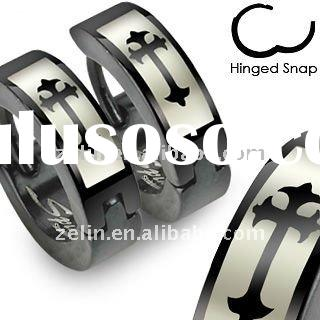 charming 316L stainless steel huggie ear expander with Roman cross jewelry body rings piercing