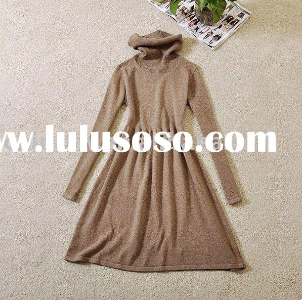 cl2103 Wholesale and retail High neck wool and cotton blended women's winter dressess