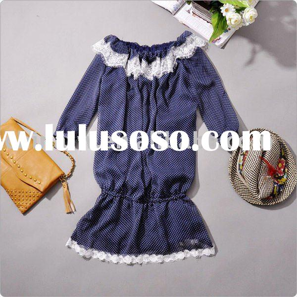db1710 wholesale! 2011 new designer!Vintage women cotton lace o- neck dress