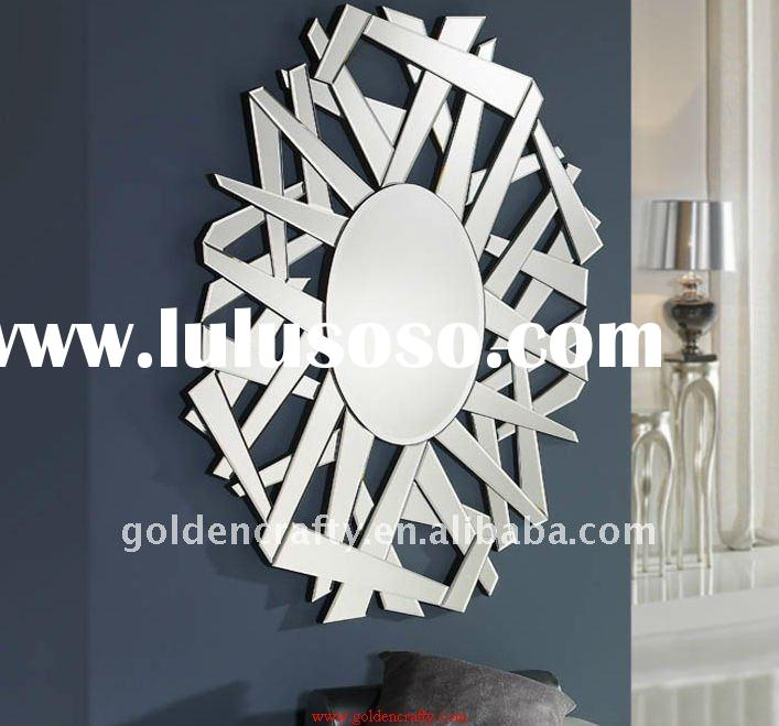 decorative modern art glass wall mirror