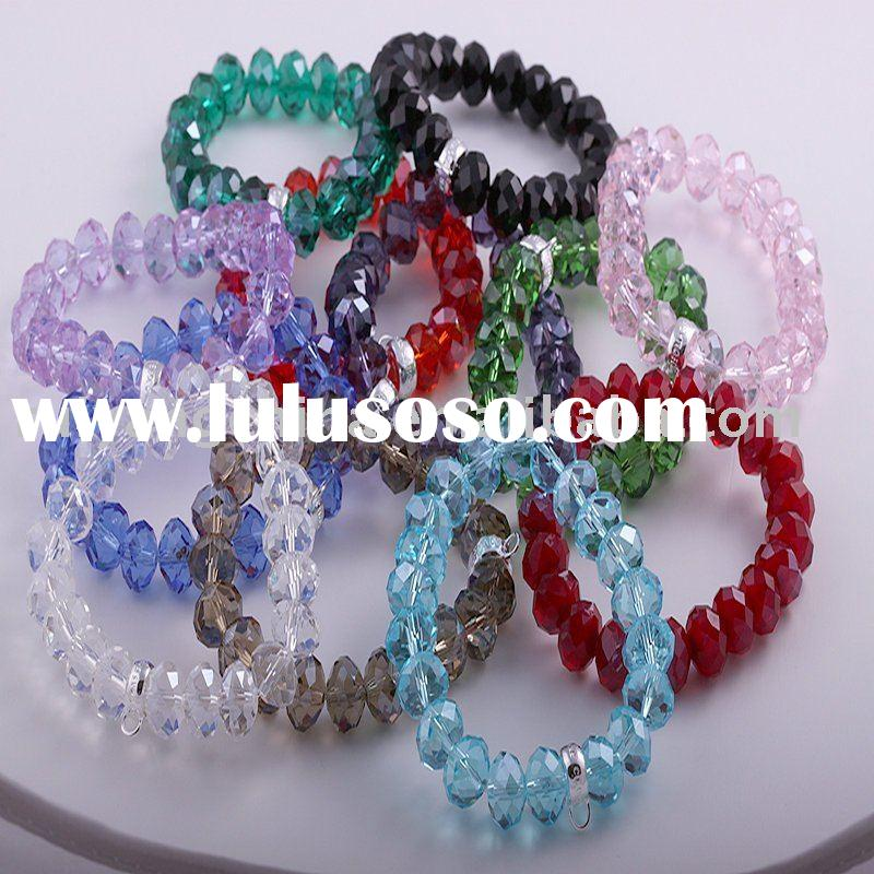 free shipping wholesale MIX color fashion rhinestone Crystal faceted beads bracelet stretch
