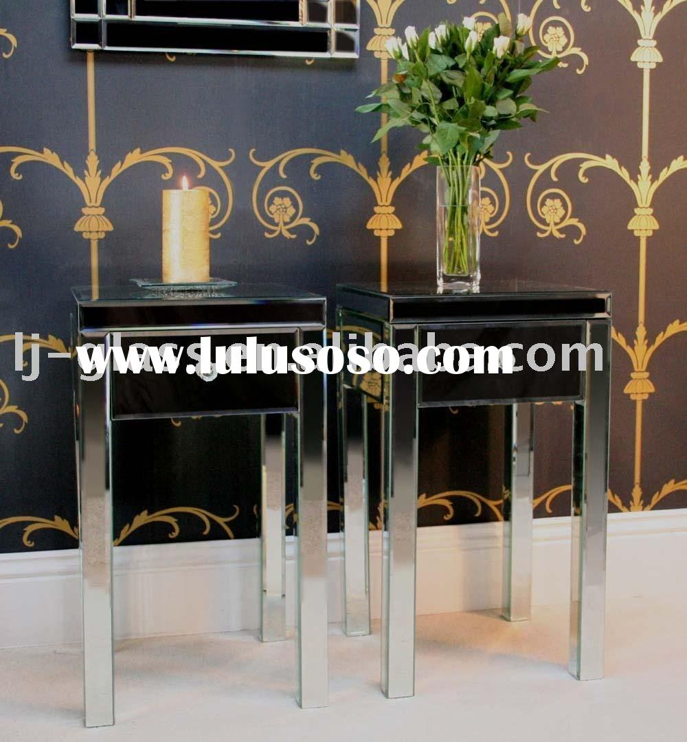 glass mirrored sideboards,bedroom furniture,glass mirror bedside table -lydia
