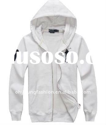 high quality simple cheap adults's cotton fleece white printed long sleeve pullover hoody