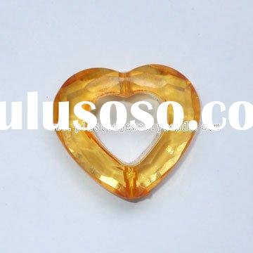 large heart crystal beads, large heart necklace beads, heart acrylic beads