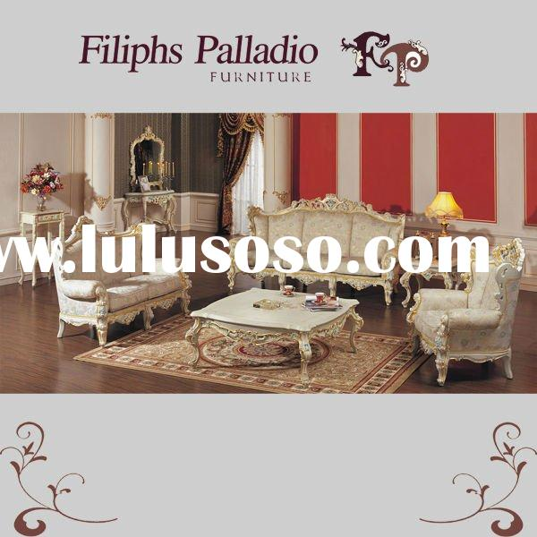 luxury classic home furniture - hand carved solid wood sofa set