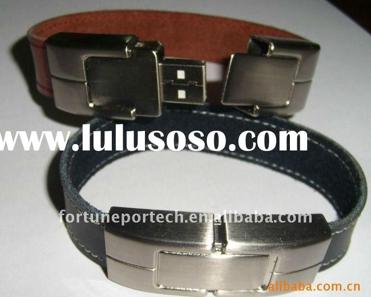 luxury gift for men! Bracelet usb with leather metal material
