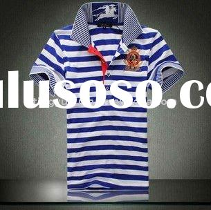 men's caual polo t-shirt with blue and white stripes