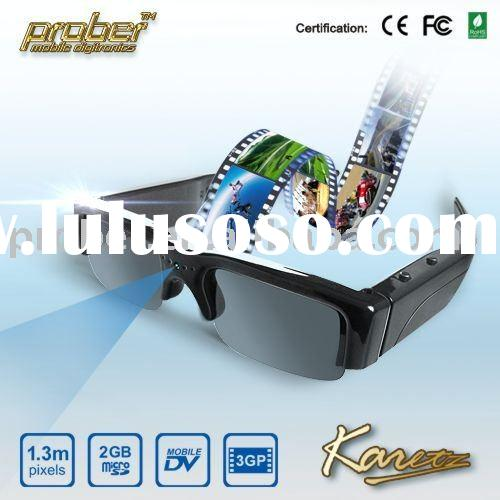 military glasses/wireless video recorder/camera sunglasses with 1.3 mega pixels, 2G,Resolution: 320*