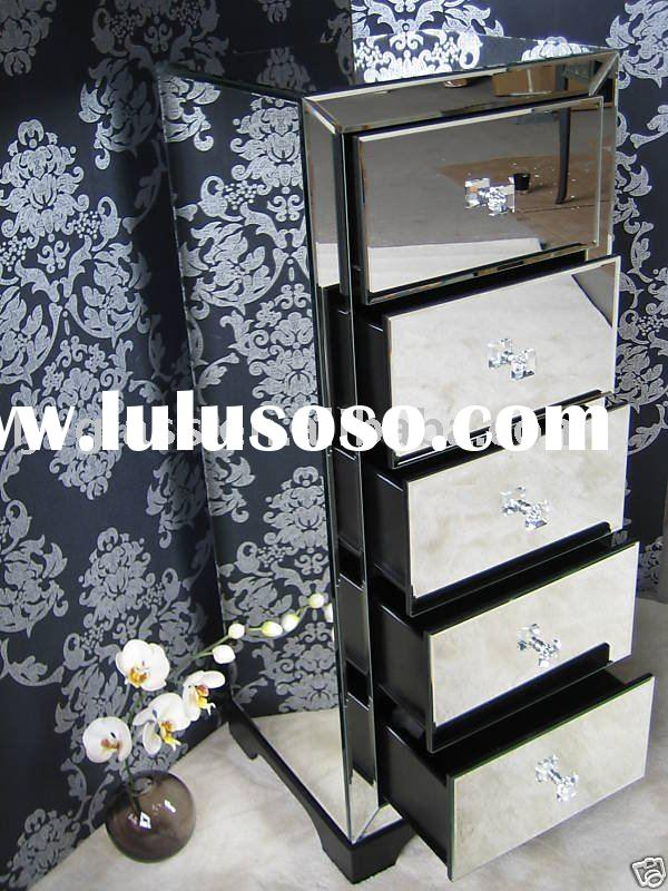 New Fashion Bedroom Mirrored Chest With Drawers Bedside
