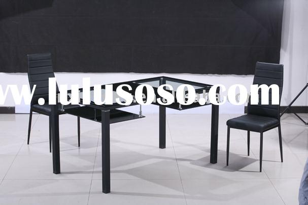 modern style square tempered glass and powder coating steel leg flat dining table
