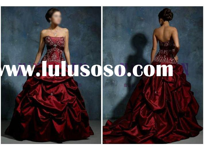 shine satin ball gown red wedding dress 2010 ek179