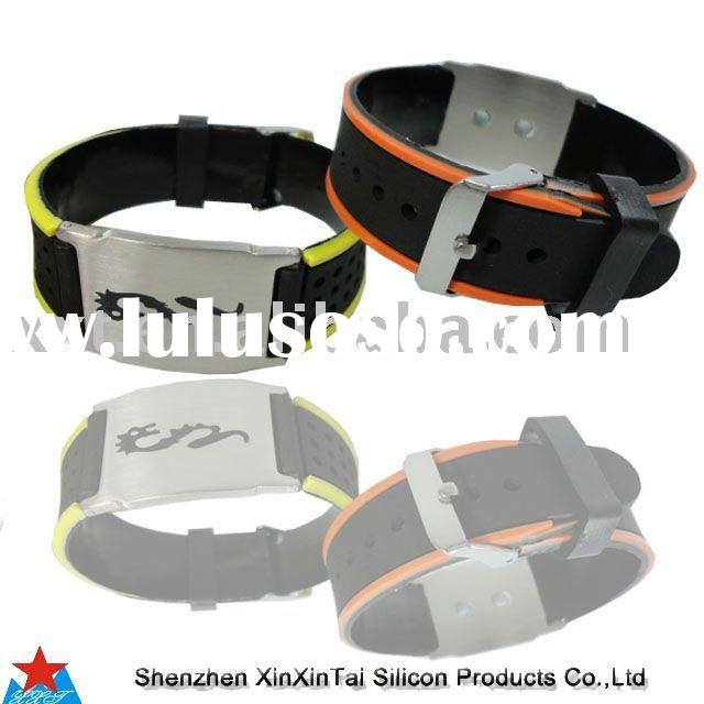 sport stainless steel silicone bracelet