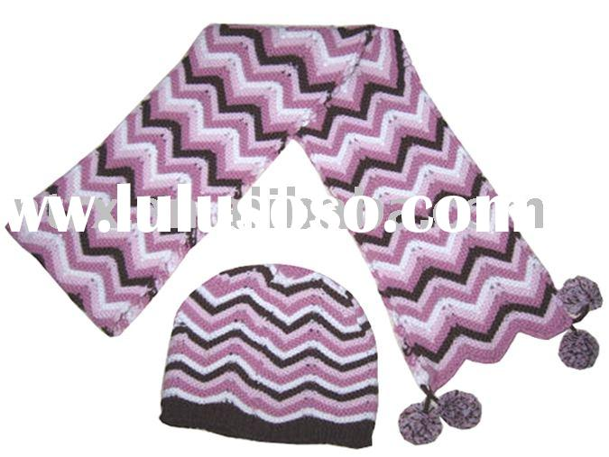 triangle stripe knitted hat scarf set