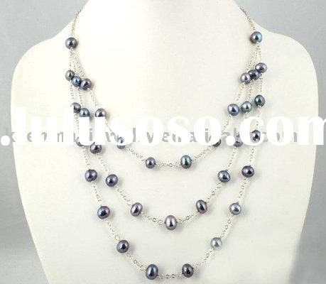 unique design,three-tier pearl necklace, silver 925, fashion jewelry,fresh n elegant style, competit
