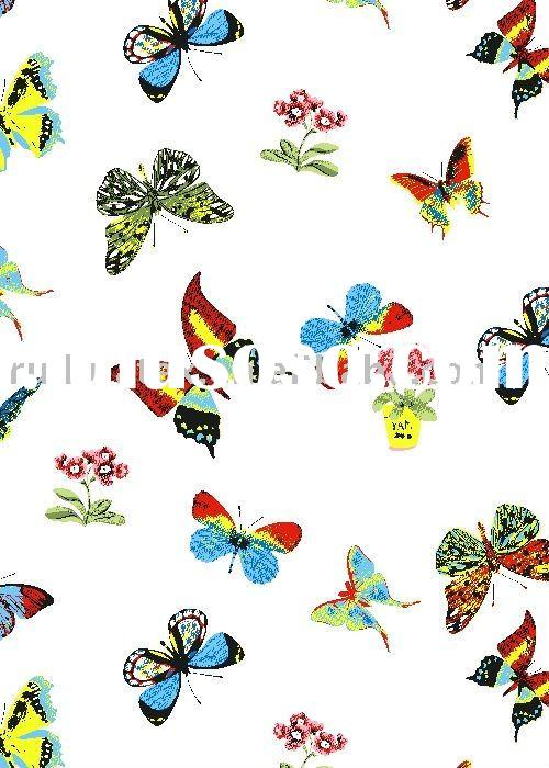 100% polyester printed fabrics with butterfly design for curtain bedding set