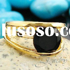 11mm Black Sapphire Yellow Gold Plated Lady Men Ring