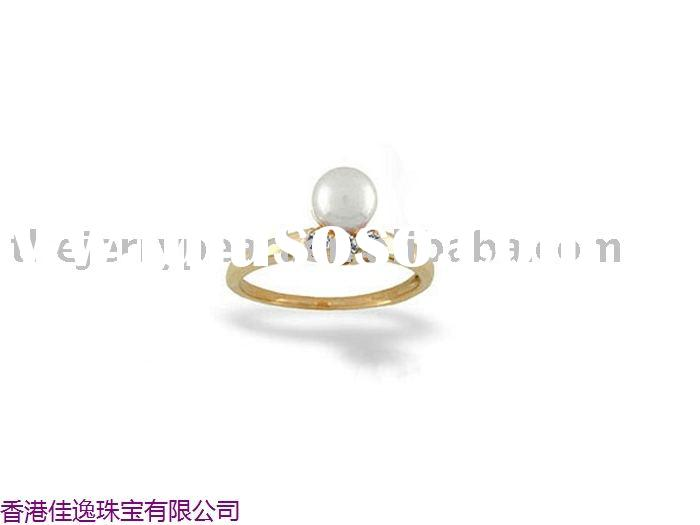 14K gold&diamond 7.5-8mm white freshwater pearl ring