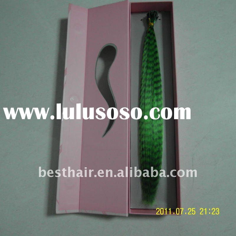 2011 hot selling grizzly stripe synthetic feather hair extensions