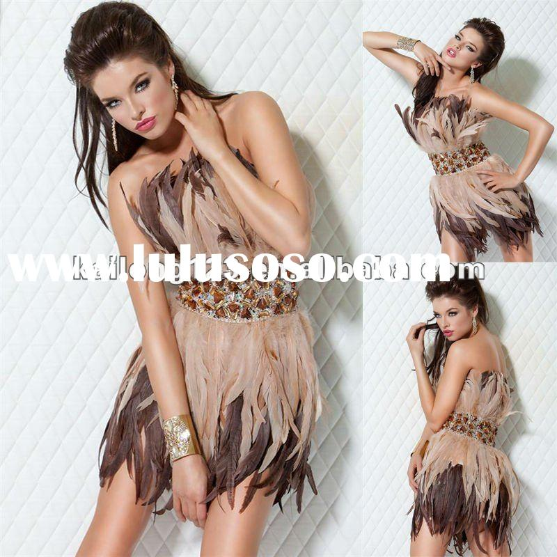 2012 Latest Strapless Fitted Beaded Multi Color Feather Dresses Short