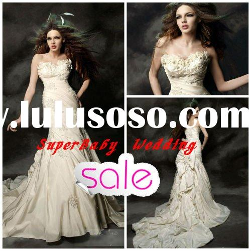 2012 Latest W-943 strapless ball gown long modern lace formal wedding dress